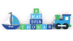 .Wooden Blocks - Personalised BLOCKS - TRANSPORT 2 SET name, date and two freestanding blocks