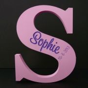 alphabet letters wooden Etched / Engraved Letter with Name and Date of Birth Pink/Purple