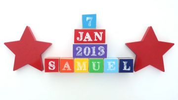 .Wooden Blocks - Personalised BLOCKS - STARS SET name, date and two freestanding blocks