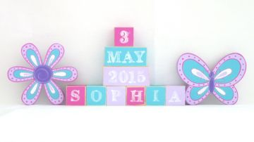 .Wooden Blocks - Personalised BLOCKS - FLOWER & BUTTERFLY SET name, date and two freestanding blocks