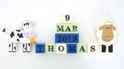 .Wooden Blocks - Personalised BLOCKS - FARMHOUSE SET name, date and two freestanding blocks