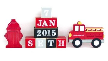 .Wooden Blocks - Personalised BLOCKS - FIRE SET name, date and two freestanding blocks