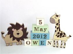 .Wooden Blocks - Personalised BLOCKS - JUNGLE POWER SET name, date and two freestanding blocks