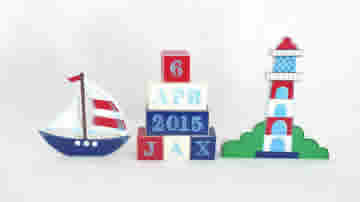 .Wooden Blocks - Personalised BLOCKS - NAUTICAL SET name, date and two freestanding blocks