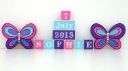 .Wooden Blocks - Personalised BLOCKS - BUTTERFLY SET name, date and two freestanding blocks